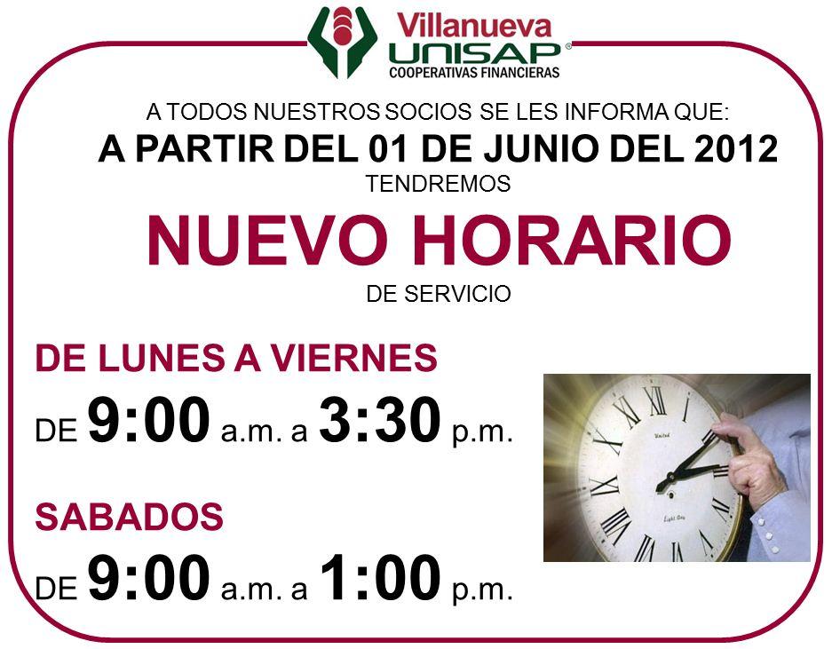 Nuevo horario de atenci n caja popular villanueva for La caja sucursales horarios